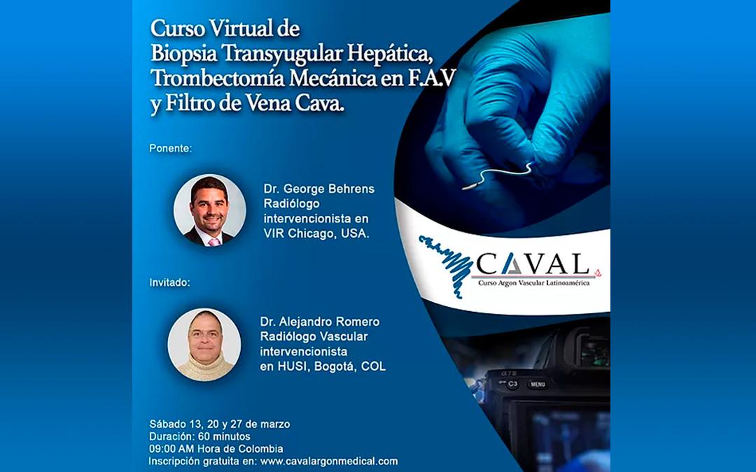 Tres días de curso virtual en Biopsia Transyugular Hepática, Filtro de Vena Cava y Trombectomía Mecánica